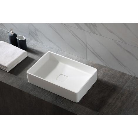Lavabo montado Aqua de fundición mineral (Pure Acrylic) - 48x32x10,5 cm - en lanco mate o brillo intenso