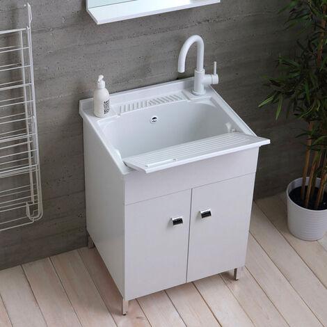 Lavabo móvil de 60x50 cm con 2 puertas y eje de lavado de ropa Hornavan