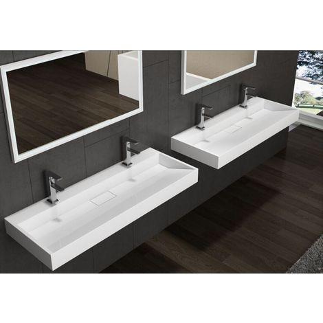 Lavabo mural / lavabo à poser BS6001 -blanc- 2 trous pour robinetterie- largeur 120cm