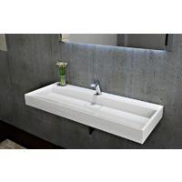 Lavabo mural / lavabo à poser en marbre artificiel BS6001 -blanc- 70cm / 100cm / 120cm