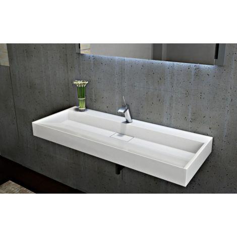Lavabo mural / lavabo à poser en marbre artificiel BS6001 - blanc brillant - largeur sélectionnable