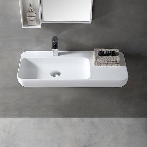 Lavabo mural o para apoyar TWG202 en solid surface (Solid Stone) - blanco mate - 90x40x12 cm