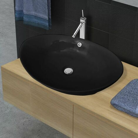 Lavabo Oval de ceramica negra de lujo con desague, 59 x 38,5 cm