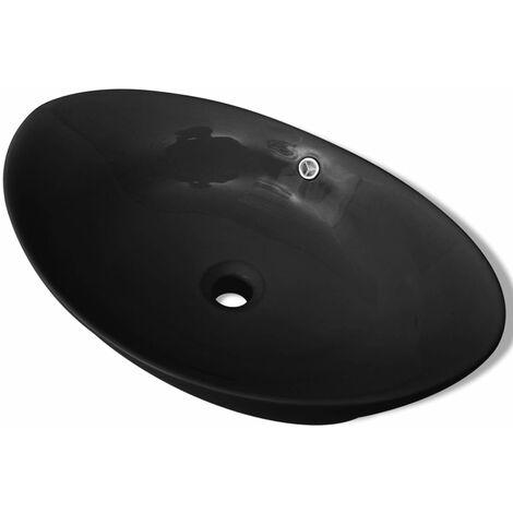 Lavabo Oval de cerámica negra de lujo con desagüe, 59 x 38,5 cm - Nero