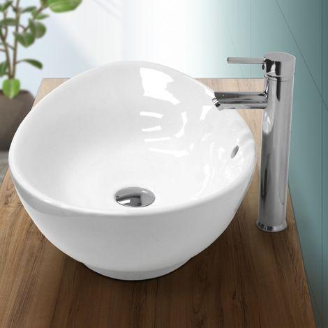 Lavabo ovalado baño cerámica pila lavamanos sobre encimera aseo 590 x 390mm