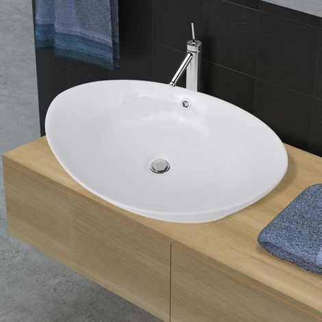 Lavabo Ovalado De Ceramica Con Desbordamiento 59 x 38,5cm
