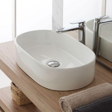 Lavabo ovalado de encimera 47x43 cm en cerámica blanca brillante | Blanco - Standard