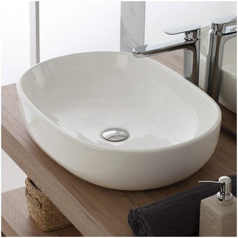 Lavabo ovalado de encimera 60x41 cm en cerámica blanca brillante | Blanco - Standard