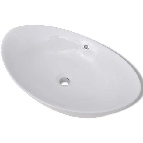 Lavabo ovale en céramique avec trop plein 59 x 38,5 cm