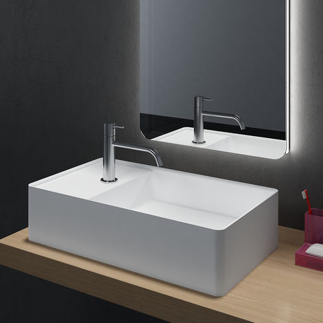Lavabo para apoyar de piedra sólida (Solid Stone) - 60 x 36 x 15 cm - blanco mate
