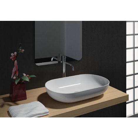 Lavabo para apoyar O-540 en fundición mineral (piedra de síntesis) - en blanco brillante - 54 x 34 x 10,5 cm:Sin adicional. abertura
