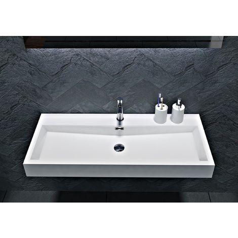 Lavabo para apoyar o suspender en mármol fundido BS6002 - blanco - 76,5 cm y 100 cm:100 cm - con orificio para grifo