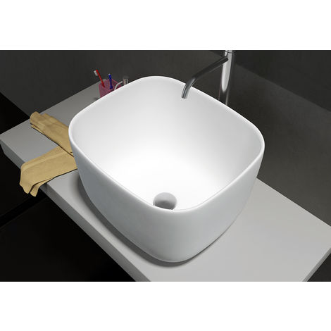 Lavabo para apoyar PB2094 de piedra sólida (Solid Surface) - 46 x 40 x 30,3 cm - blanco mate