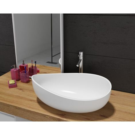 Lavabo para apoyar WAVE PB2001, polímero mineral (acrílico puro) - 60 x 37 x 21 cm - blanco mate o alto brillo
