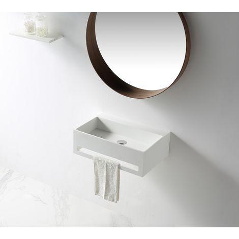 Lavabo para colgar TWG02 de piedra sólida (Solid Stone) con toallero integrado - 60 x 40 x 20cm
