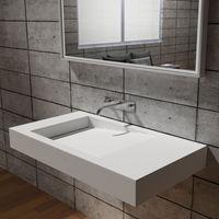 Lavabo para montaje mural PB2155 de piedra sólida - blanco mate - 100 x 55 x 12 cm