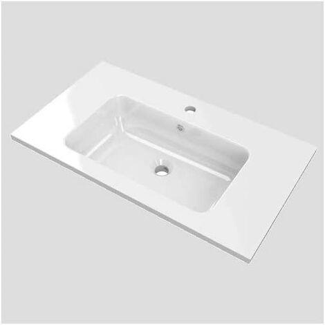 Lavabo para mueble de baño con el seno centrado SOLID SURFACE de resina con carga mineral. Varias medidas y colores