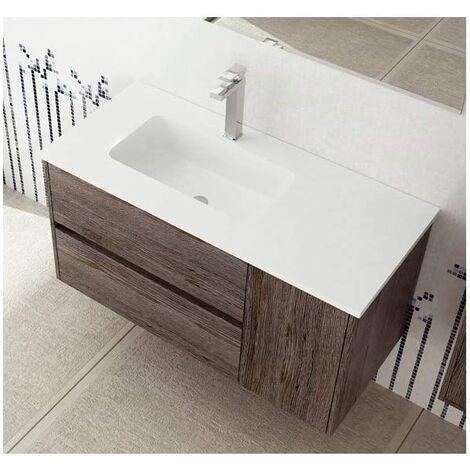 Lavabo para mueble de baño con el seno desplazado para módulos de 60cm SOLID SURFACE de resina con carga mineral. Varios colores y medidas