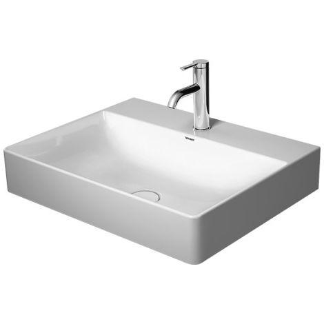 Lavabo para muebles Duravit DuraSquare 60x47 cm, pulido, sin agujero para grifo, sin rebosadero, con banco para grifo,, color: Blanco con Wondergliss - 23536000791