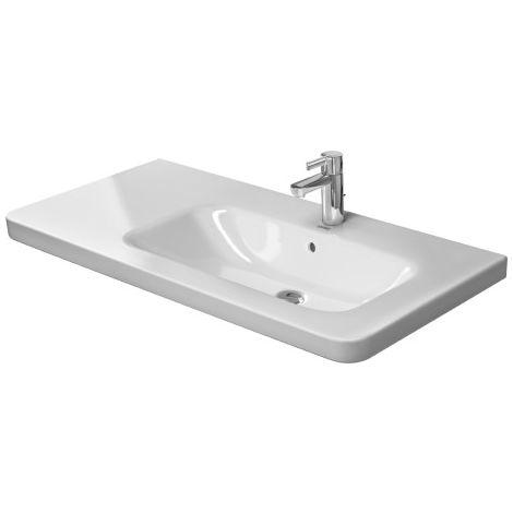 Lavabo para muebles Duravit DuraStyle 100cm asimétrico, con rebosadero, 3 agujeros para grifos, lavabo a la derecha, color: Blanco con Wondergliss - 23261000301
