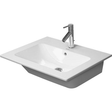 Lavabo para muebles Duravit ME de Starck, 1 agujero para grifo, con rebosadero, con banco para grifo ,630 mm, color: Blanco con Wondergliss - 23366300001
