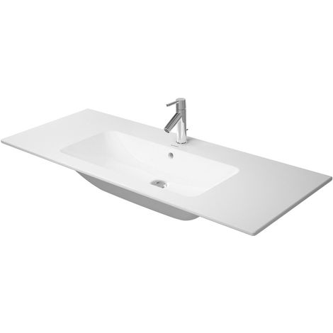 Lavabo para muebles Duravit ME de Starck, 1 agujero para grifo, rebosadero, con banco para grifo, 1230 mm, color: Seda blanca mate con Wondergliss - 23361232001