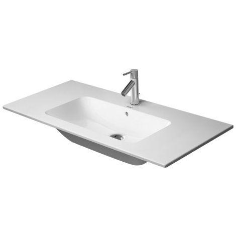 Lavabo para muebles Duravit ME de Starck, 2 agujeros para grifos, rebosadero, con banco de agujeros para grifos, 1030 mm, color: Seda blanca mate - 2336103258