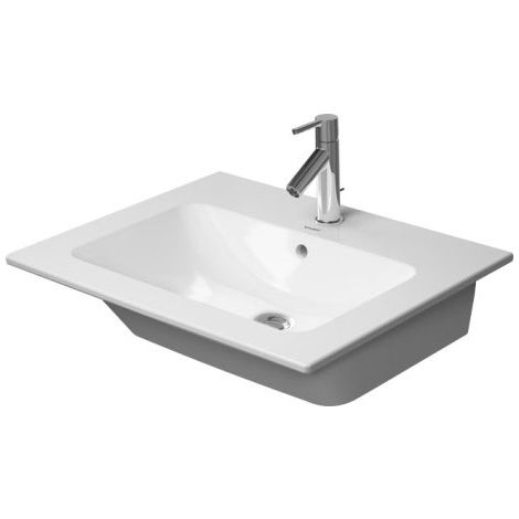 Lavabo para muebles Duravit ME de Starck, 2 agujeros para grifos, rebosadero, con banco para grifos, 630 mm, color: Seda blanca mate - 2336633258