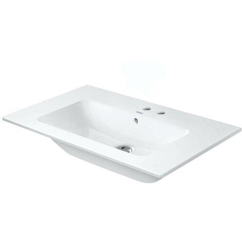 Lavabo para muebles Duravit ME de Starck, 2 agujeros para grifos, rebosadero, con banco para grifos, 830 mm, color: Seda blanca mate con Wondergliss - 23368332581
