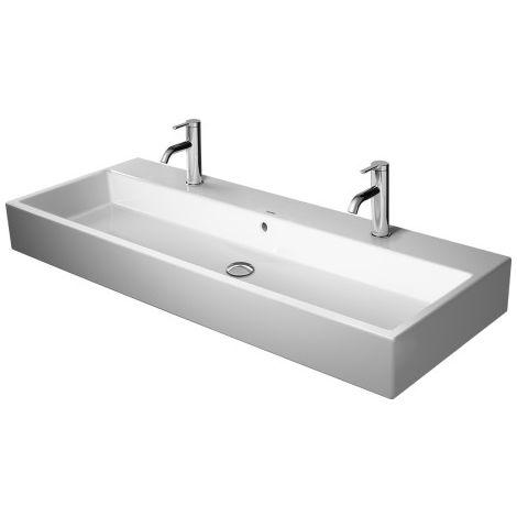 Lavabo para muebles Duravit Vero Air 100x47cm, con rebosadero, con banco con agujero para grifo, para 2 mezcladores de un agujero, color: Blanco con Wondergliss - 23501000241