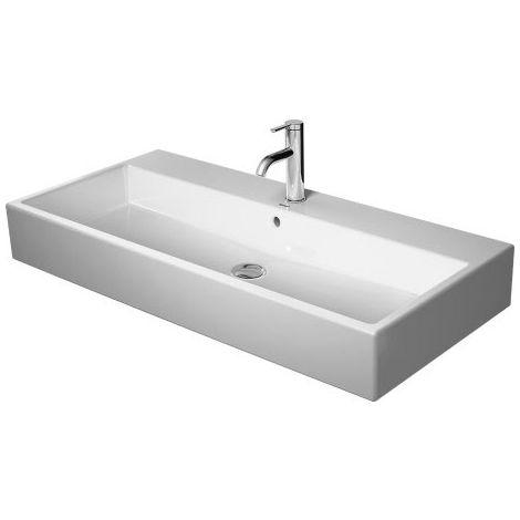 Lavabo para muebles Duravit Vero Air 100x47cm, sin rebosadero, con banco con agujero para grifo, sin agujero para grifo, color: Blanco con Wondergliss - 23501000701