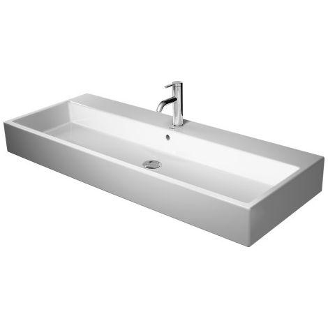 Lavabo para muebles Duravit Vero Air 100x47cm, sin rebosadero, con banco para grifos, 3 agujeros para grifos, color: Blanco con Wondergliss - 23501000441