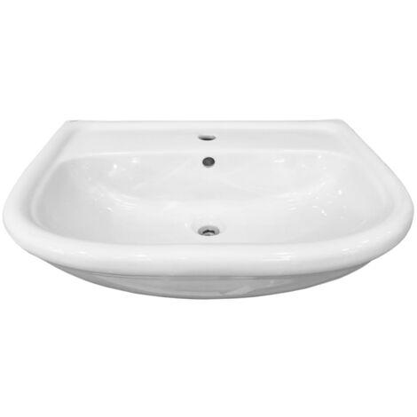 """main image of """"Lavabo per installazione semincasso in ceramica bianca lucida Globo"""""""