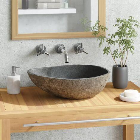 Lavabo Pierre Naturelle Ovale 38-45 cm Lave-main Vasque Salle de Bain