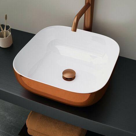 lavabo porcelana cuadrado cobre 400x400 mm
