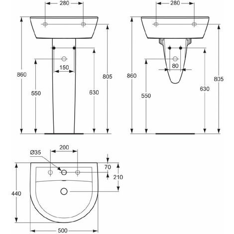 Lavabo PORCHER ULYSSE 2 50 x 44 cm en gres avec trop-plein, blanc Ref. P125401