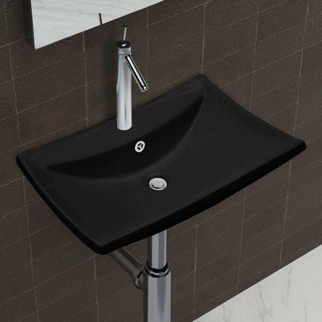 Lavabo rectangulaire en ceramique noir de luxe avec trop-plein et trou
