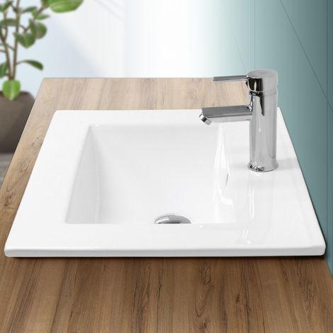 Lavabo rectangular baño cerámica pila lavamanos empotrado aseo 610x465 mm