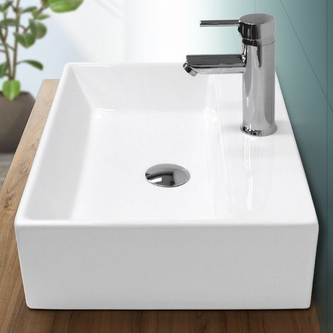 Lavabo rectangular baño cerámica pila lavamanos sobre encimera aseo 515 x 360mm