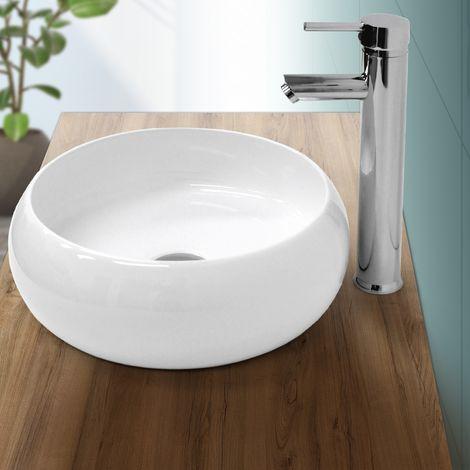 Lavabo redondo baño cerámica pila lavamanos cuenco aseo sobre encimera Ø 350 mm