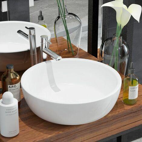 Lavabo redondo de ceramica 42x12 cm blanco