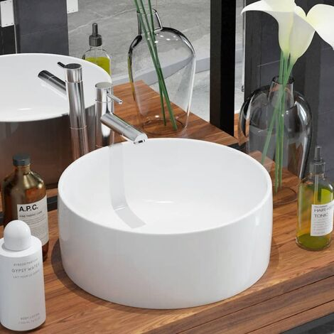 Lavabo redondo de cerámica blanco 40x15 cm