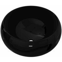 Lavabo redondo de cerámica negro 40x16 cm