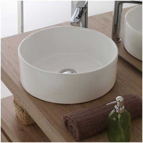 Lavabo redondo de encimera Ø40 cm en cerámica blanca brillante | Blanco - Standard