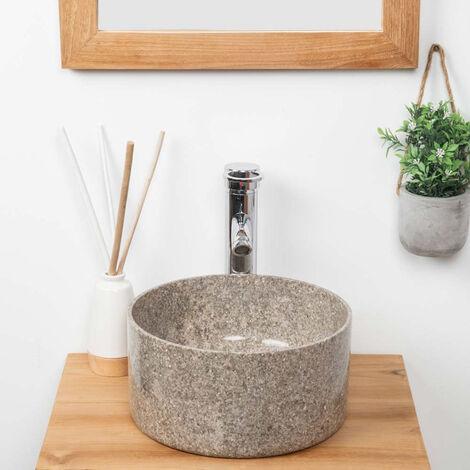 lavabo redondo de mármol para cuarto de baño Ulysse 30 cm gris