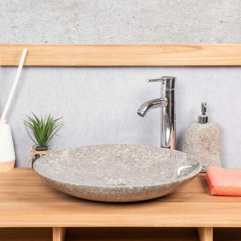 Lavabo redondo grande de mármol cuarto de baño Lysom 45 gris
