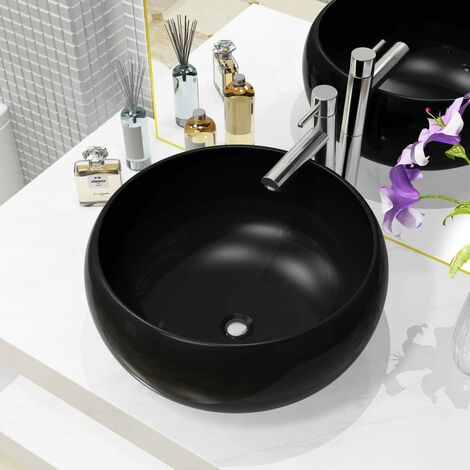Lavabo Rond Céramique Noir 40x15 cm Vasque Evier Salle de Bain Toilette