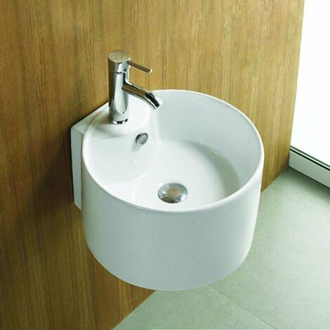 Lavabo Rond Suspendu - Céramique Blanc - 40x43 cm - Sigma