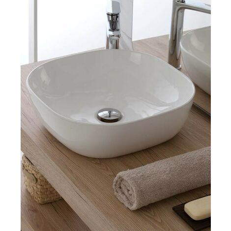 Lavabo ronde à poser Ø42.5 cm en céramique blanche brillant | Blanc - Standard