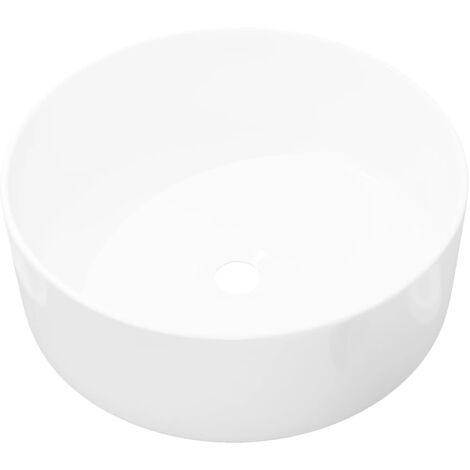 Lavabo Ronde Céramique Blanc 40x15 cm Vasque à Poser Salle de Bain